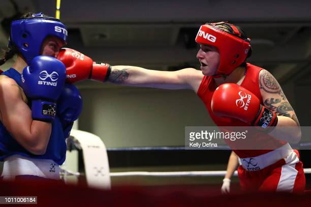 Antonia Kay is punched by Kristy Harris during the 2018 Elite Australian Women's World Championship Selection Trials at Rendezvous Hotel on July 28...
