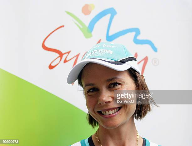 Antonia Kidman attends a photo call ahead of Sunday's Blackmores Sydney Running Festival welcoming the official race starter Japan's Naoko Takahashi...