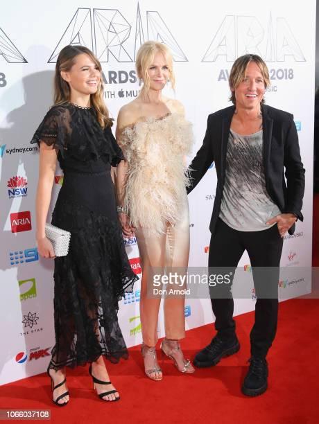 Antonia Kidman Nicole Kidman and Keith Urban arrive for the 32nd Annual ARIA Awards 2018 at The Star on November 28 2018 in Sydney Australia