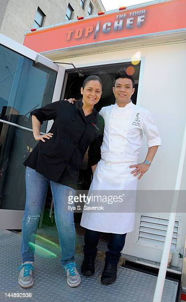 Antonia Lofaso and Hung Huynh attend the 5th annual Top Chef The Tour at Gansevoort Plaza on May 20 2012 in New York City