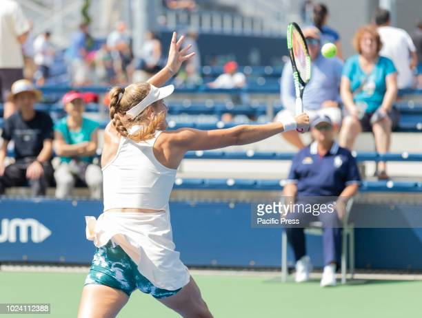 Antonia Lottner of Germany returns ball during qualifying day 3 against Francesca Di Lorenzo of USA at US Open Tennis championship at USTA Billie...