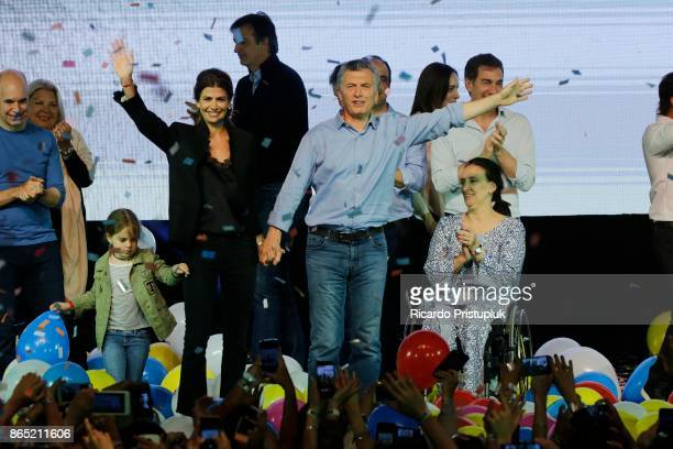 Antonia Macri Mauricio Macri President of Argentina First Lady Juliana Awada and Gabriela Michetti Vice President of Argentina celebrate after the...