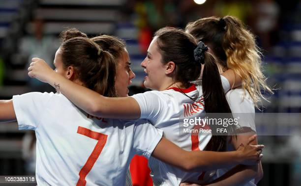Antonia Martinez of Spain celebrates with her team mates after she scores the iopening goal in the Women's Futsal 3rd Place match between Bolivia and...