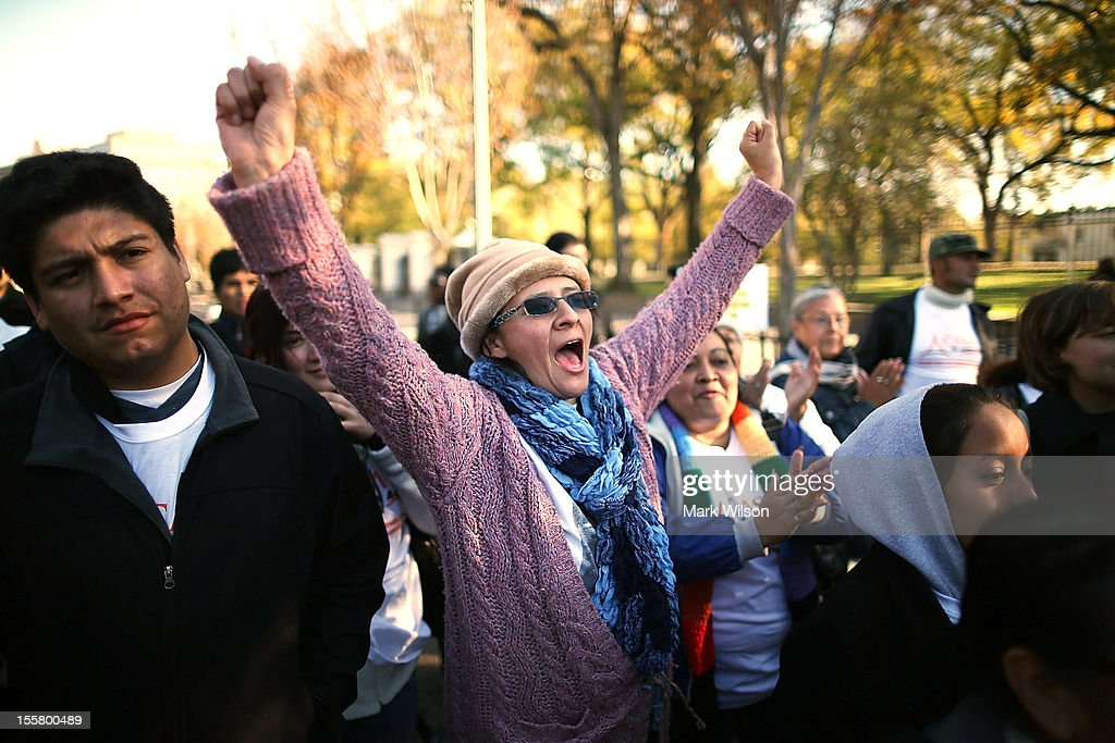 Antonia Pena, from Colombia, chants during a rally with on immigration reform in front of the White House on November 8, 2012 in Washington, DC. Immigrant rights organizations called on President Barack Obama to fulfill his promise of passing comprehensive immigration reform.