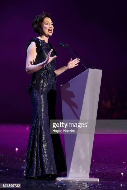 Antonia Prebble speaks during the World of WearableArt Awards 2017 at TSB Bank Arena on September 22 2017 in Wellington New Zealand