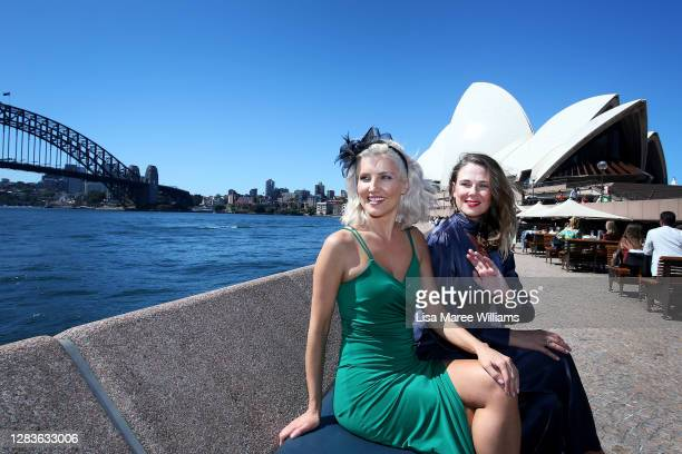Antonia Sprem and Rachel Clissold attend a Melbourne Cup event at the Opera Bar on November 03, 2020 in Sydney, Australia. The Melbourne Cup is...