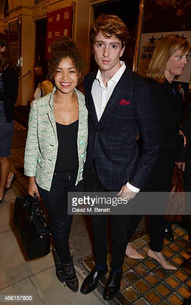 Antonia Thomas and Luke Newberry pose in the foyer following the press night performance of 'Great Britain' at the Theatre Royal Haymarket on...