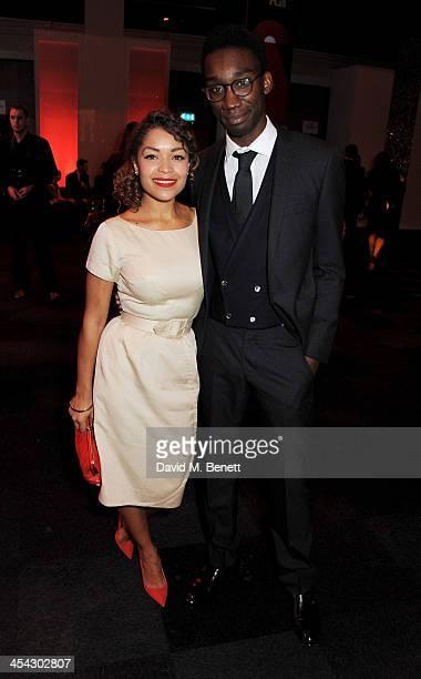 Antonia Thomas and Nathan StewartJarrett attend the Moet Reception at the Moet British Independent Film Awards 2013 at Old Billingsgate Market on...