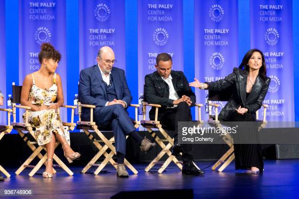 Antonia Thomas Richard Schiff Hill Harper and Tamlyn Tomita attend the panel discussion at the 2018 PaleyFest Los Angeles ABC's 'The Good Doctor'...