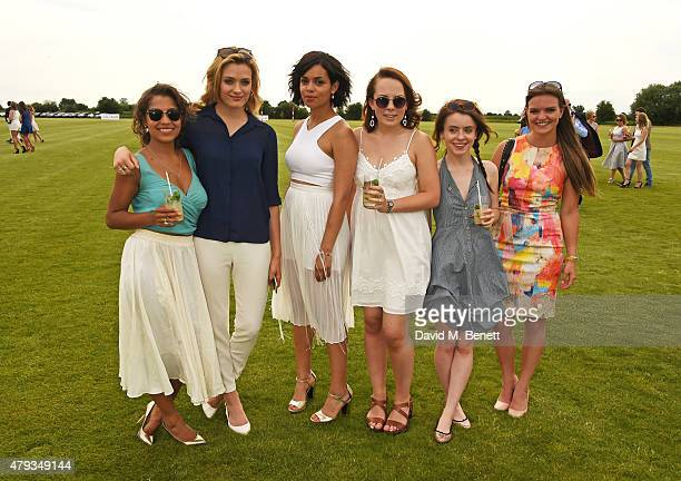 Antonia Thomas Wallis Day Georgina Campbell Alice Sykes Rosie Day and guest attend the Audi Polo Challenge 2015 at Cambridge County Polo Club on July...