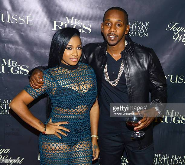Antonia Toya Wright and Ruggs attend all black affair for Mr Rugs Toya Wright birthday celebration at XS Lounge on October 29 2015 in Atlanta Georgia