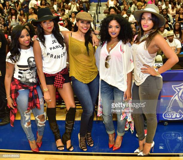 Antonia 'Toya' Wright Letoya Luckett Monyetta Shaw Rasheeda and Eudoxie Agnan attend the LUDA vs YMCMB celebrity basketball game at Georgia State...