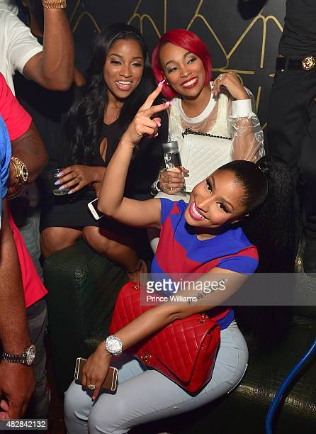 Antonia Toya Wright Monica Brown and Nicki Minaj attend the Pinkprint Tour after party at XS Lounge on August 2 2015 in Atlanta Georgia
