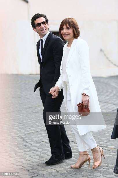 Antonia Truppo and guest arrive at the 61 David Di Donatello nominees presentation at Palazzo del Quirinale on March 27 2017 in Rome Italy