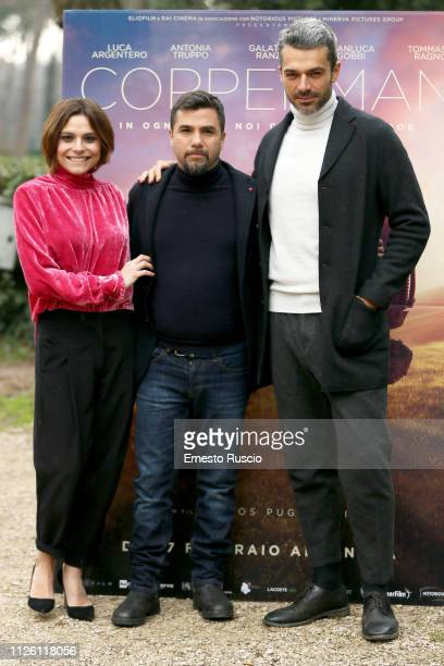 Antonia Truppo Eros Puglielli and Luca Argentero attend Copperman photocall at Casa del Cinema on January 30 2019 in Rome Italy
