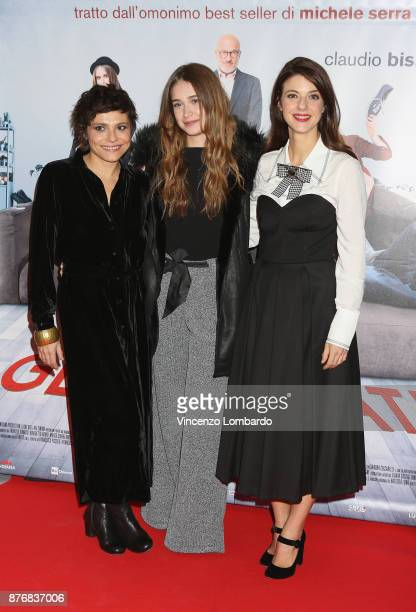 Antonia Truppo Ilaria Brusadelli and Barbara Ronchi attend 'Gli Sdraiati' photocall on November 20 2017 in Milan Italy