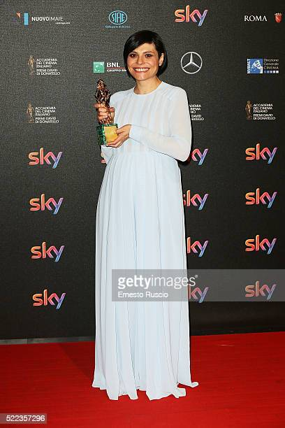 Antonia Truppo recives the David di Donatello award during the 60th David di Donatello Ceremony at Studios on April 18 2016 in Rome Italy