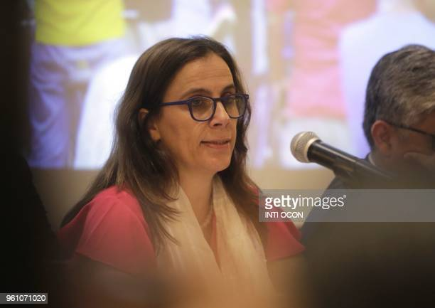 Antonia Urrejola InterAmerican Commission on Human Rights commissioner talks to journalists during a press conference in Managua Nicaragua on May 21...