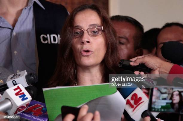 Antonia Urrejola rapporteur of the InterAmerican Commission on Human Rights for Nicaragua speaks during a press conference in Managua on May 18 2018...