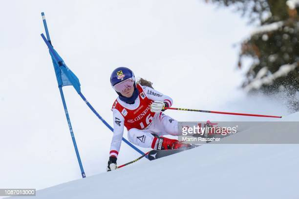 Antonia Wieser of Austria during the first run of FIS Ski World Cup 79 Hahnenkamm Race Kitzbuehel Juniors Race on January 23 2019 in Kitzbuehel...