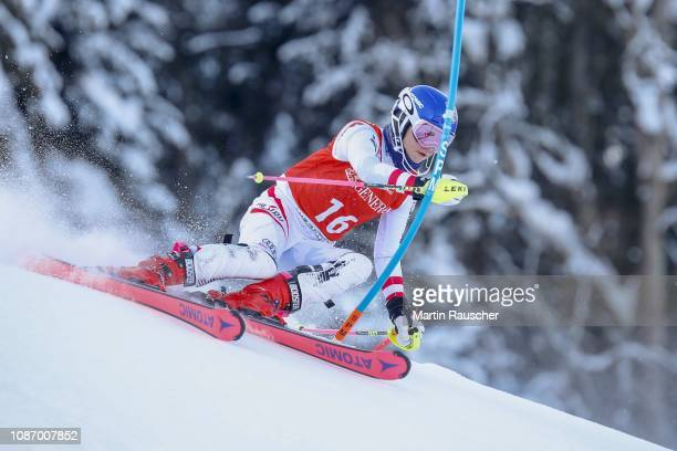 Antonia Wieser of Austria during the second run of FIS Ski World Cup 79 Hahnenkamm Race Kitzbuehel Juniors Race on January 23 2019 in Kitzbuehel...