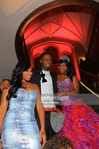 Antonia Wright and Dewayne Lil Wayne Carter attend Reginae Carter's 13th Birthday party at The Callanwolde Mansion on November 19 2011 in Atlanta...