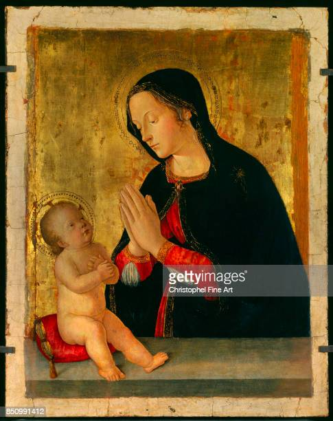 Antoniazzo Romano The Madonna adoring the Child Oil on wood 050 x 063 m Avignon musee du Petit Palais