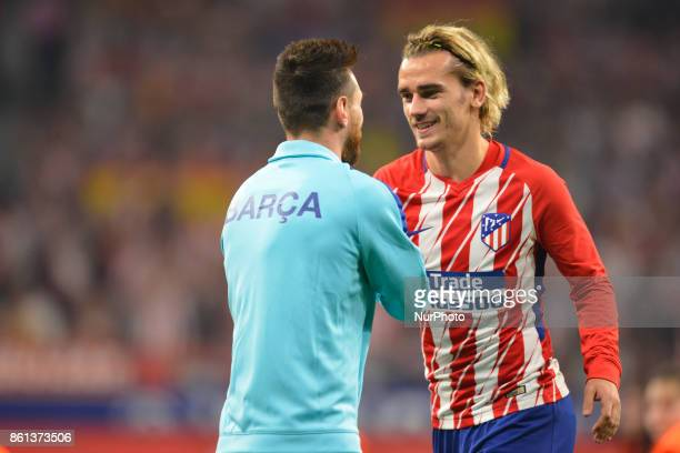 Antonie Griezmann Leo Messi during the match between Atletico de Madrid vs FC Barcelona week 8 of La Liga 2017/18 in Wanda Metropolitano Stadium...