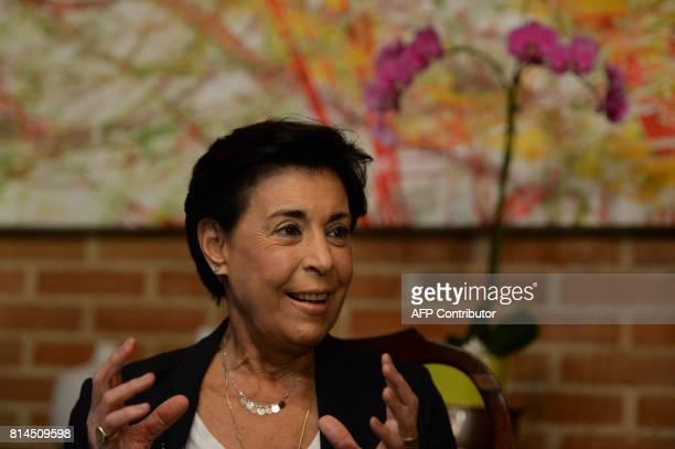 Antonieta Mendoza, mother of Venezuelan opposition leader Leopoldo Lopez, gestures as he speaks during an interview with AFP in Caracas on July 13,...