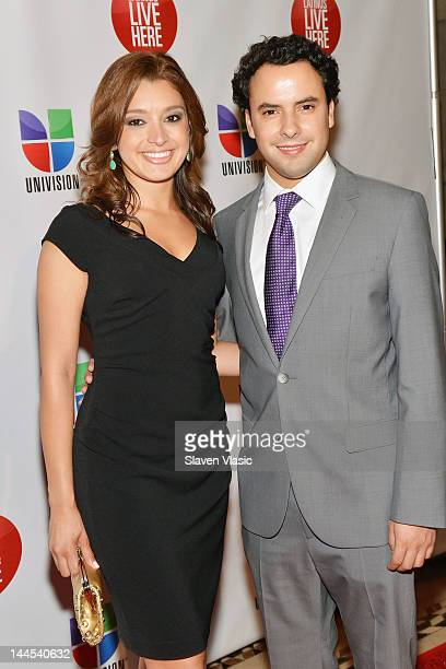 Antonietta Collins and Alejandro Berry anchors of Univision Deportes Extra attend Univision Upfront 2012 Reception at Cipriani 42nd Street on May 15...