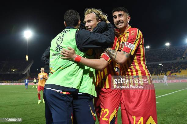 Antonin Barak and Alessandro Deiola of US Lecce celebrate the 20 goal scored by Antonin Barak during the Serie A match between US Lecce and Torino FC...