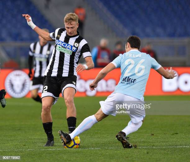 Antonin Barak and Stefan Radu during the Italian Serie A football match between SS Lazio and Udinese at the Olympic Stadium in Rome on january 24 2018