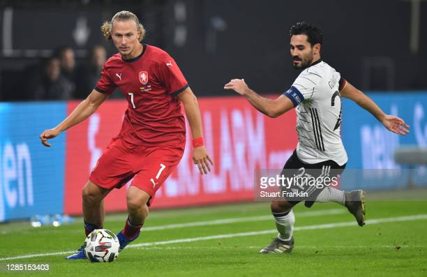 Antonin Barak of Czech Republic is challenged by Ilkay Guendogan of Germany during the international friendly match between Germany and Czech...