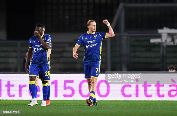 Antonin Barak of Hellas Verona celebrates after scoring their side's first goal during the Serie A match between Hellas Verona FC and Juventus at...