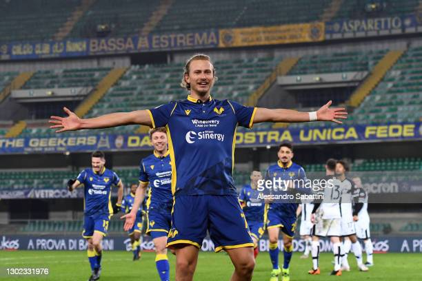 Antonin Barak of Hellas Verona F.C. Celebrates after scoring their team's second goal during the Serie A match between Hellas Verona FC and Parma...