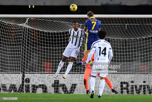 Antonin Barak of Hellas Verona scores their side's first goal during the Serie A match between Hellas Verona FC and Juventus at Stadio Marcantonio...