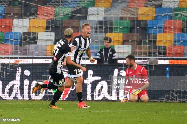 Antonin Barak of Udinese Calcio celebrates after sciring his team's second goal during the Serie A match between Udinese Calcio and Atalanta BC at...