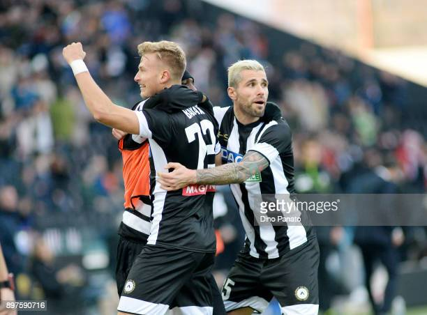 Antonin Barak of Udinese Calcio celebrates after scoring his opening goal during the serie A match between Udinese Calcio and Hellas Verona FC at...