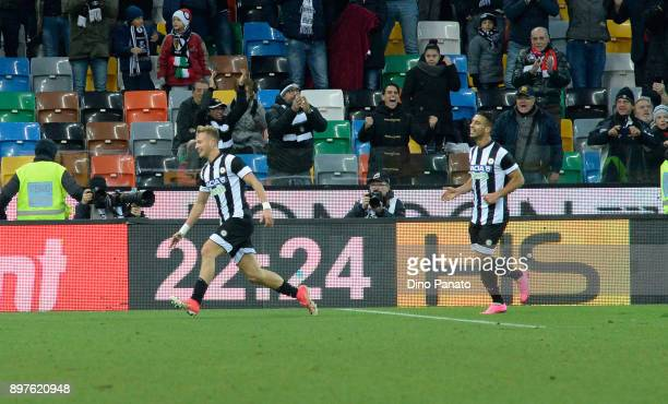 Antonin Barak of Udinese Calcio celebrates after scoring his team's third goal during the serie A match between Udinese Calcio and Hellas Verona FC...
