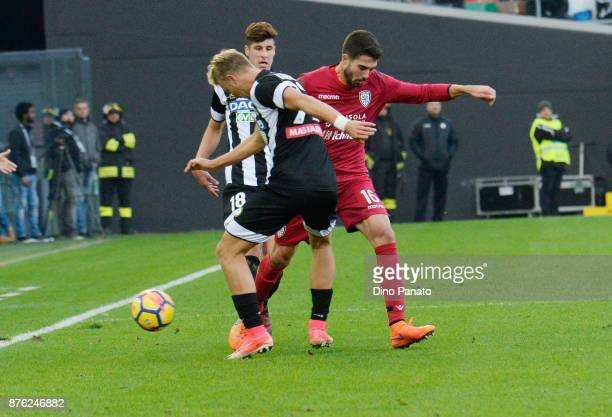 Antonin Barak of Udinese Calcio competes with Paolo Pancrazio Farago' of Cagliari Calcio during the Serie A match between Udinese Calcio and Cagliari...