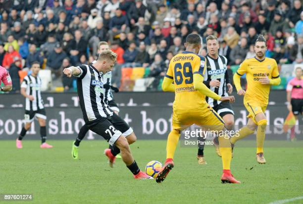 Antonin Barak of Udinese Calcio competes with Samuel Souprayen of Hellas Verona during the Serie A match between Udinese Calcio and Hellas Verona FC...