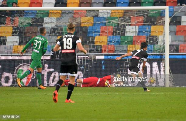 Antonin Barak of Udinese Calcio scores his team's second goal during the Serie A match between Udinese Calcio and Atalanta BC at Stadio Friuli on...