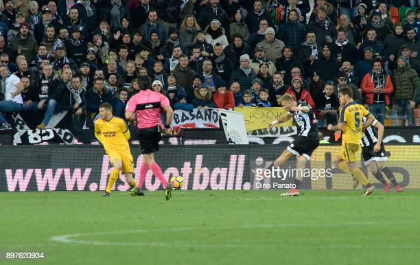Antonin Barak of Udinese Calcio scores his team's third goal during the serie A match between Udinese Calcio and Hellas Verona FC at Stadio Friuli on...