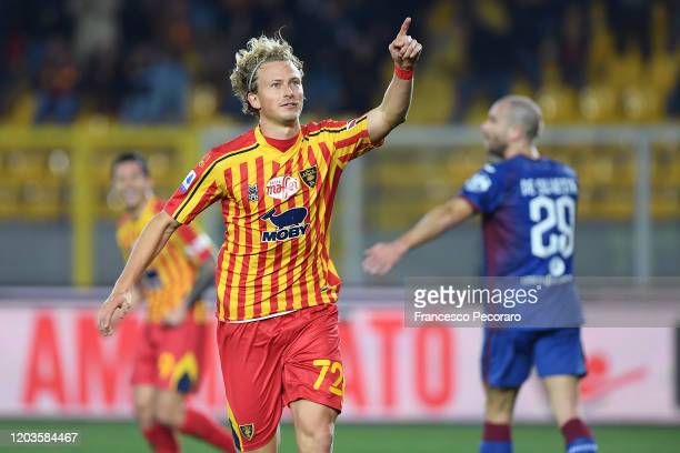 Antonin Barak of US Lecce celebrates after scoring the 20 goal beside the disappointment of Lorenzo De Silvestri of Torino FC during the Serie A...