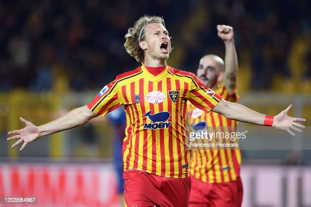Antonin Barak of US Lecce celebrates after scoring the 20 goal during the Serie A match between US Lecce and Torino FC at Stadio Via del Mare on...