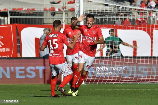 Antonin Bobichon of Nimes celebrates his Goal during the Ligue 1 match between Nimes and Paris Saint Germain on September 1 2018 in Nimes France