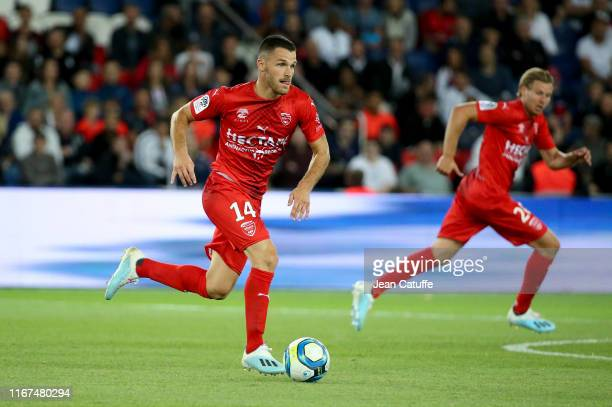 Antonin Bobichon of Nimes during the French Ligue 1 match between Paris Saint-Germain and Nimes Olympique at Parc des Princes stadium on August 11,...