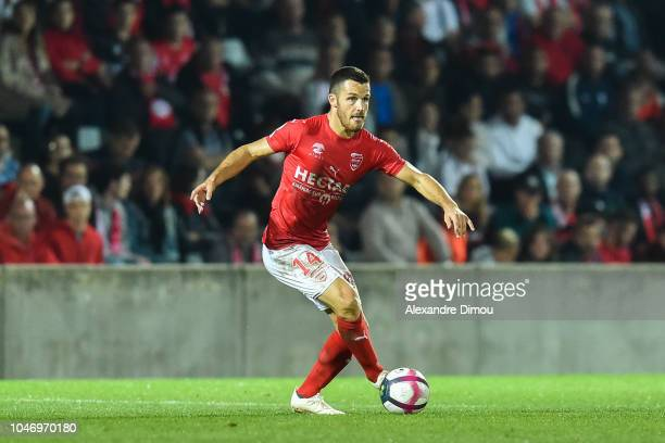 Antonin Bobichon of Nimes during the Ligue 1 match between Nimes and Reims at Stade des Costieres on October 6 2018 in Nimes France