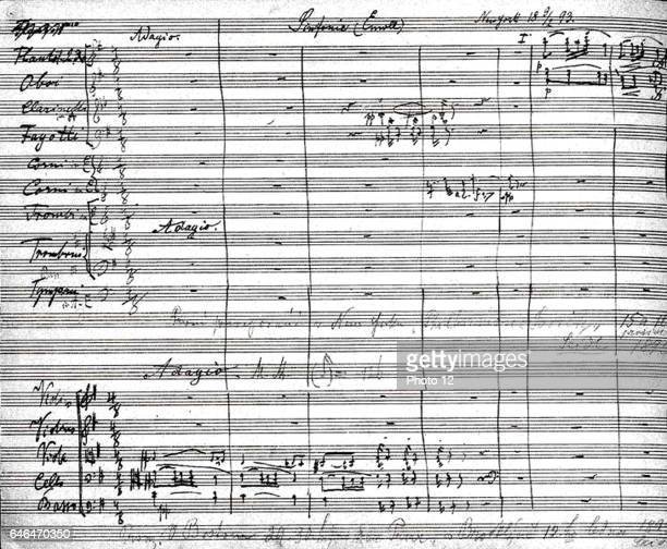 Antonin Dvorak Czech composer First page of the autograph score of Dvorak's Symphony No 9 in E Minor 'From the New World' 1893
