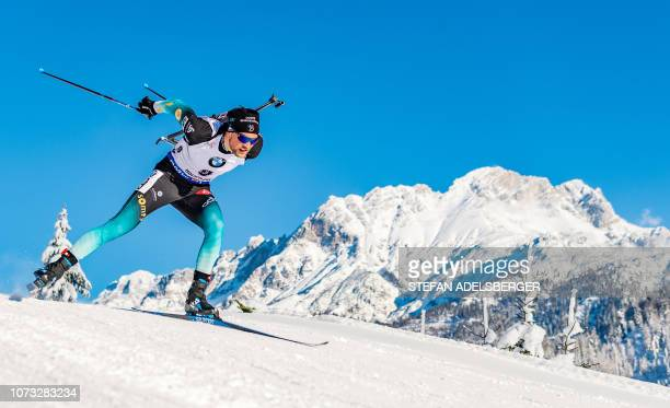 Antonin Guigonnat of France competes during the Men's 10 km sprint event of the IBU Biathlon World Cup in Hochfilzen Austria on December 14 2018 /...